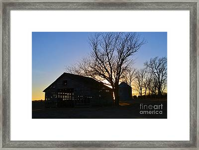 Through The Corn Crib Framed Print