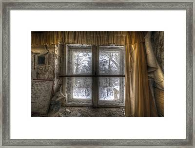 Through The Dirty Window Framed Print