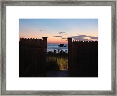 Through The Gate Framed Print by Brenda Conrad