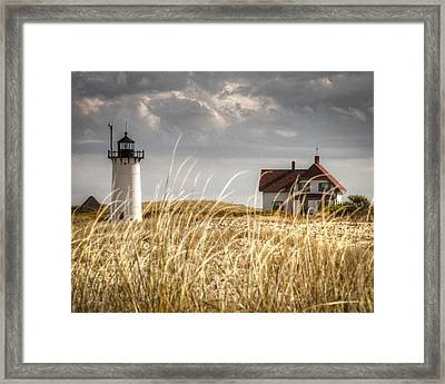 Race Point Light Through The Grass Framed Print by Brian Caldwell