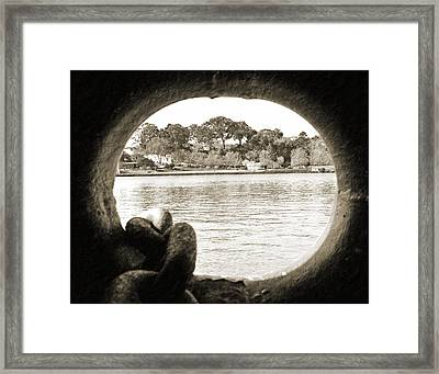 Through The Porthole Framed Print by Holly Blunkall