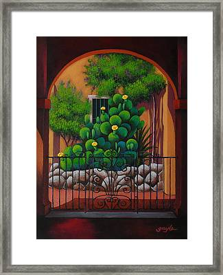 Through The Portico Framed Print