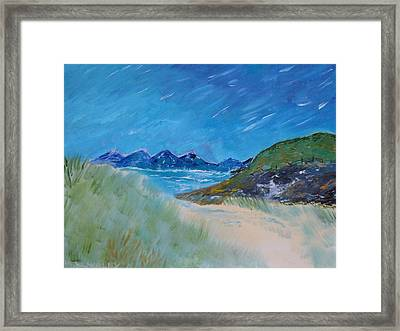 Framed Print featuring the painting Through The Sand Dunes by Martin Blakeley