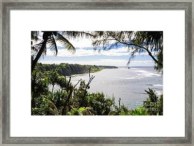 Through The Trees - A Remote Coastline On A Tropical Island Framed Print by David Hill