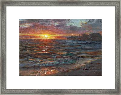 Through The Vog - Hawaii Beach Sunset Framed Print by Karen Whitworth