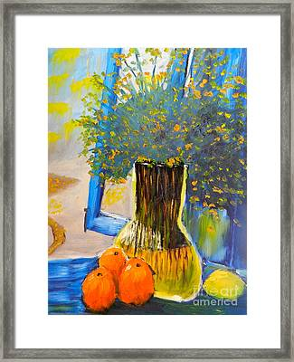 Framed Print featuring the painting Through The Window by Pamela  Meredith