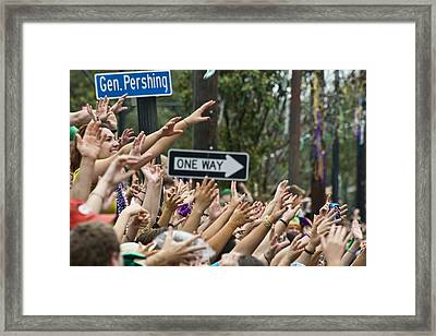 Throw Me Something Mister Framed Print by Ray Devlin
