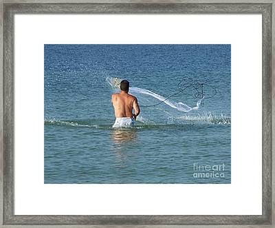 Throwing The Net Framed Print