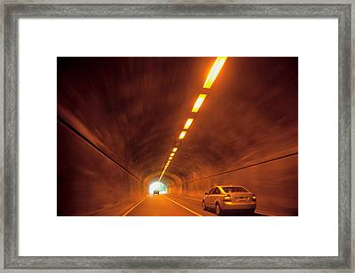 Thru The Tunnel Framed Print by Karol Livote