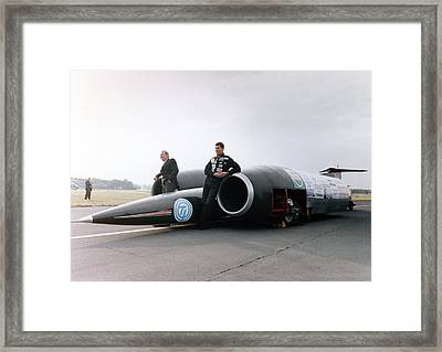 Thrust Ssc Supersonic Car And Team Framed Print