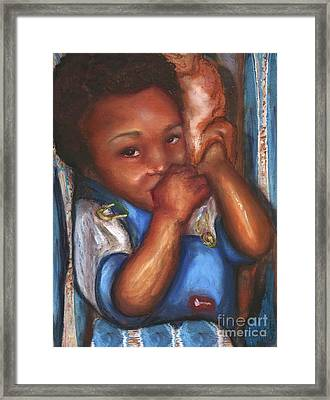 Framed Print featuring the mixed media Thumb And A Blankee by Alga Washington
