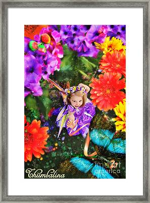 Thumbelina Looks Up Holding Her Butterfly In Fairy Tale Garden Framed Print by Fairy Tales Imagery Inc