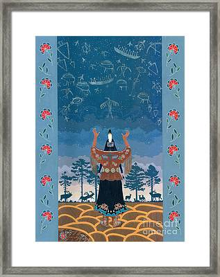 Framed Print featuring the painting Thunder Girl II by Chholing Taha