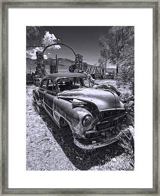 Thunder Mountain Indian Monument -  Car Wreck Framed Print by Gregory Dyer