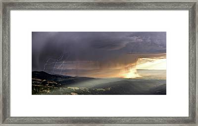 Thunder Shower And Lightning Over Teton Valley Framed Print