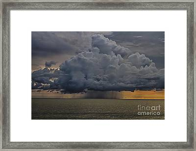 Thunder Storm Cloud Over The Gulf Of Mexico Framed Print by Robert Wirth
