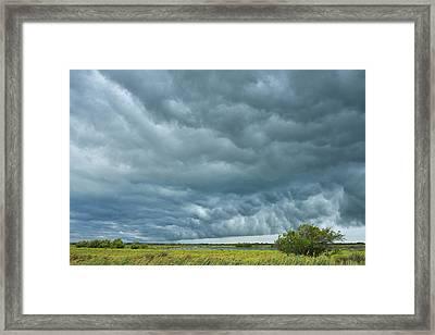 Thunder Storm Over Countryside Framed Print by Raimund Linke