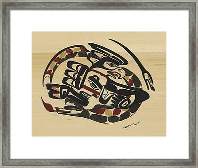 Thunderbird And Lightning Snake Framed Print