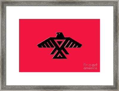 Thunderbird Emblem Of The Anishinaabe People Black On Red Version Framed Print