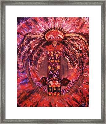 Thunderbird In Red Framed Print by Anne-Elizabeth Whiteway