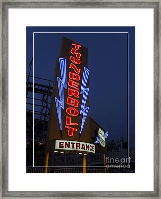 Thunderbolt Rollercoaster Neon Sign Framed Print by Edward Fielding