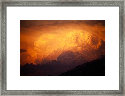 Framed Print featuring the photograph Thunderhead At Sunset by Brad Brizek