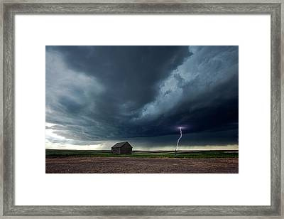 Thunderstorm And Barn Framed Print by Roger Hill