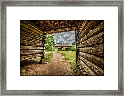 Thunderstorm Approaching Pioneer Barns E130 Framed Print
