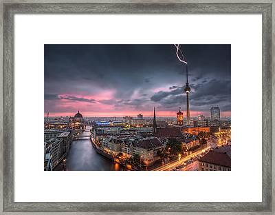 Thunderstorm At Alexanderplatz In Berlin Germany Framed Print