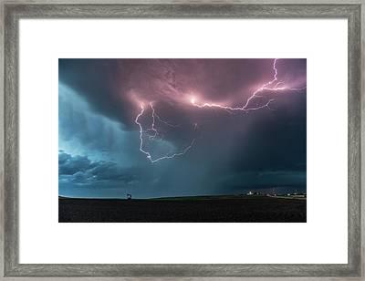 Thunderstorm At Dusk Framed Print by Roger Hill