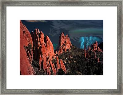 Thunderstorm At Garden Of The Gods Framed Print
