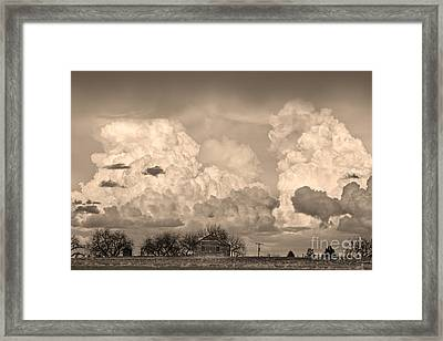 Thunderstorm Clouds And The Little House On The Prairie Sepia Framed Print