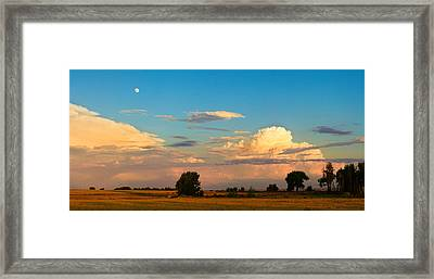 Thunderstorm Front Blue Sky And Moon Panorama Framed Print by James BO  Insogna