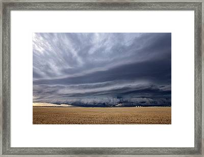 Thunderstorm Over Field Framed Print by Roger Hill