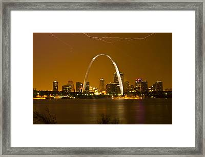 Thunderstorm Over The City Framed Print by Garry McMichael