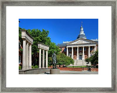 Thurgood Marshall Memorial And Maryland State House Framed Print by Olivier Le Queinec