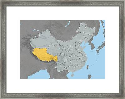 Tibet, China, Relief Map Framed Print