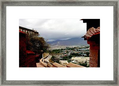 Tibet   Lhasa - Potala Palace - View Of The Dalai Lama Framed Print by Jacqueline M Lewis