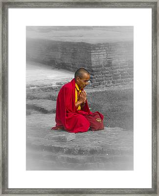Tibetan Buddhist Monk Meditates Framed Print by Kaleidoscopik Photography