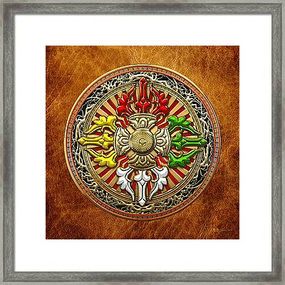 Tibetan Double Dorje Mandala - Double Vajra On Brown Leather Framed Print by Serge Averbukh
