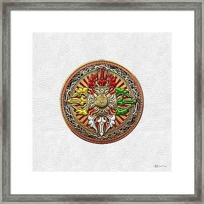 Tibetan Double Dorje Mandala - Double Vajra On White Leather Framed Print by Serge Averbukh
