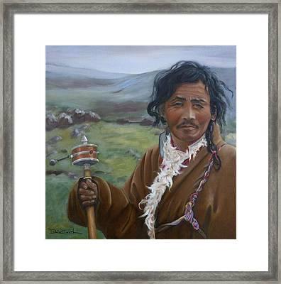 Tibetan Nomad With Prayer Wheel Framed Print by Birgit Coath