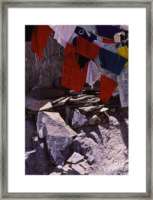 Tibetan Prayer Flags Behind The Potala Palace Framed Print by Anna Lisa Yoder