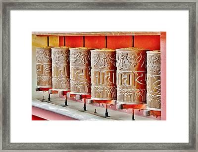 Tibetan Prayer Wheels Framed Print by Kim Bemis