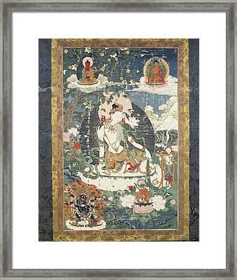 Tibetan Tanka With An Illustration Framed Print