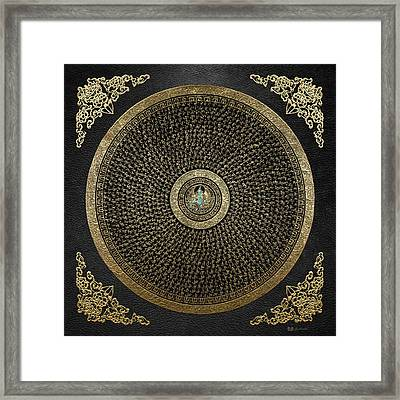 Tibetan Thangka - Green Tara Goddess Mandala With Mantra In Gold On Black Framed Print by Serge Averbukh