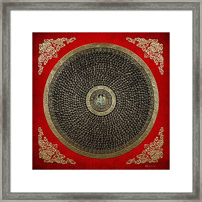 Tibetan Thangka - Green Tara Goddess Mandala With Mantra In Gold On Red Framed Print by Serge Averbukh