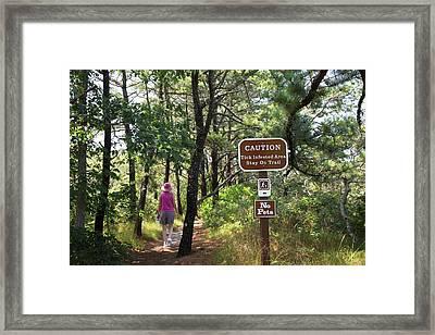 Tick Warning Sign On Hiking Trail Framed Print