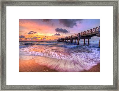 Tidal Lace Framed Print by Debra and Dave Vanderlaan