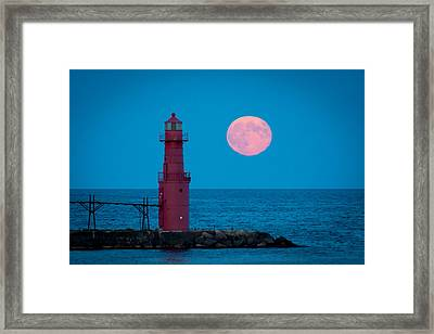 Tidal Moon And Lighthouse Framed Print